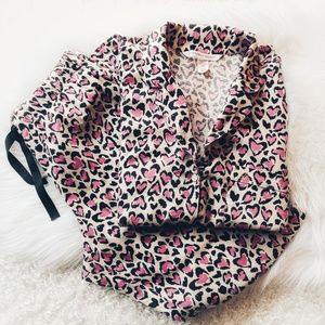 Victoria's Secret Cheetah Heart Flannel PJ's